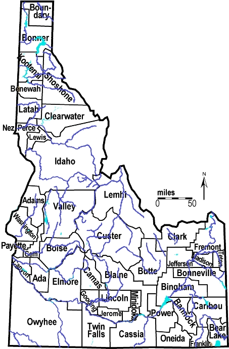 Idaho Outline Maps And Map Links - Idaho counties road map usa
